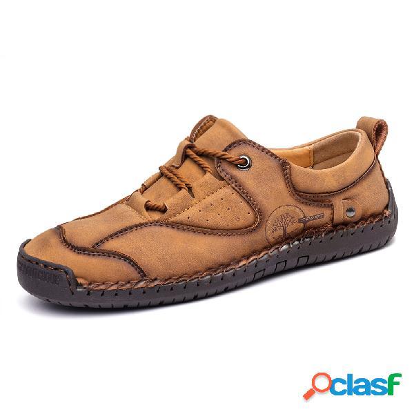 Menico hombres confort microfibra cuero costuras a mano soft zapatos casuales