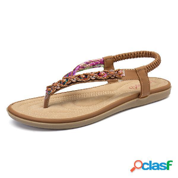 Lostisy tejer slip on comfy clip dedo del pie playa plano sandalias