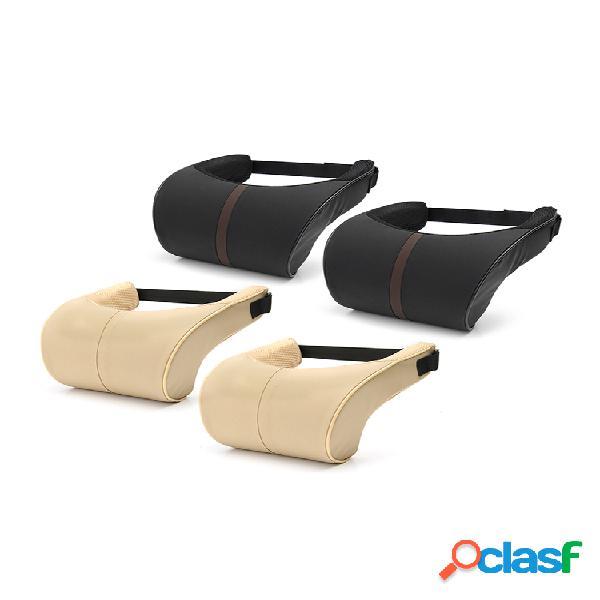 2 unids / set coche asiento cuello almohada cojín de reposacabezas para cuello alivio del dolor y soporte cervical funda lavable espuma viscoelástica y ergonómica diseño