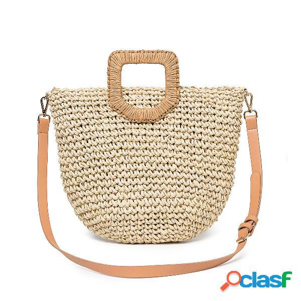 Mujer verano playa bolsa bolso de viaje con asa superior de paja bolso de gran capacidad