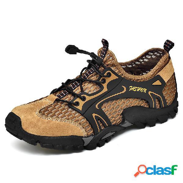 Hombres malla de secado rápido transpirable antideslizante soft suela al aire libre zapatos para agua