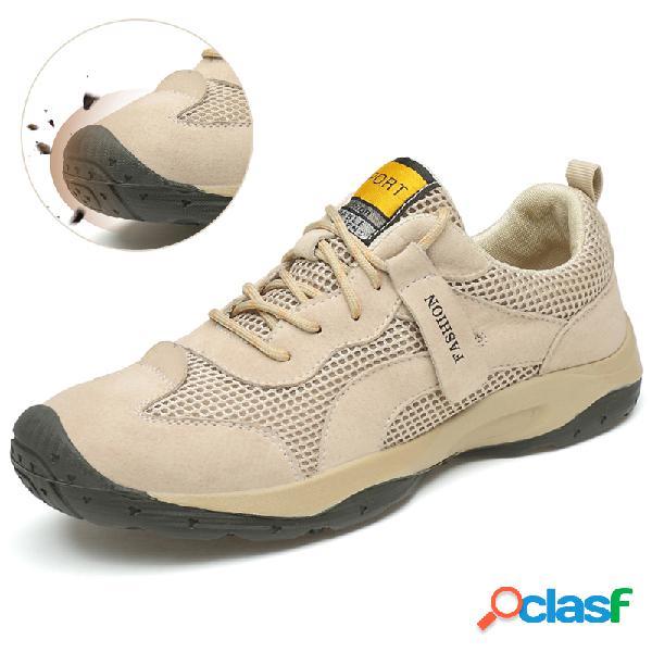 Hombres al aire libre zapatos de senderismo de malla antideslizantes y transpirables