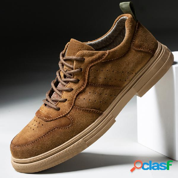 Hombres pure color suede antideslizante al aire libre zapatos casuales