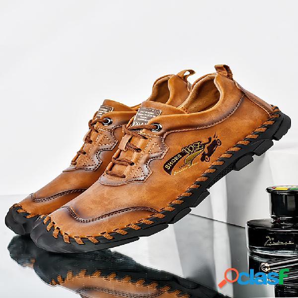 Hombres costura a mano al aire libre zapatos de cuero de vaca antideslizantes protectores de dedos