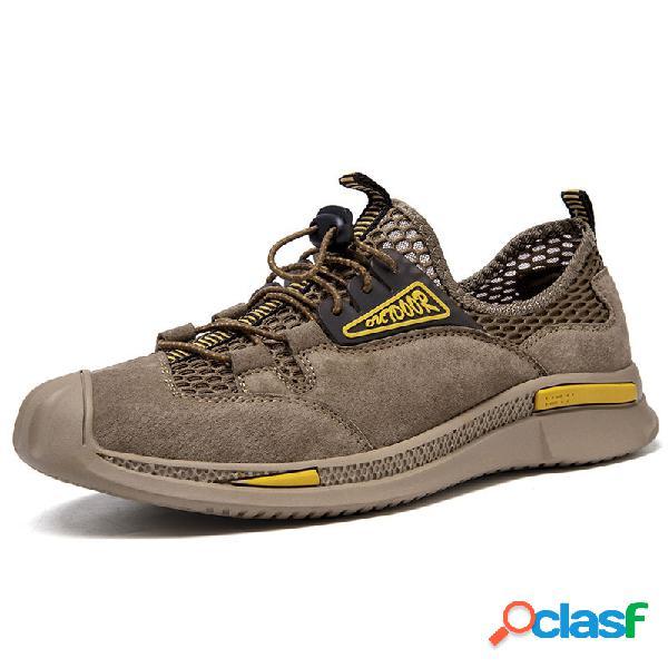 Hombres malla cuero empalme cordón elástico antideslizante al aire libre zapatos casuales
