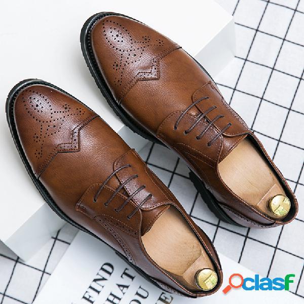 Hombres retro microfibra cuero antideslizante brogue formal vestido zapatos
