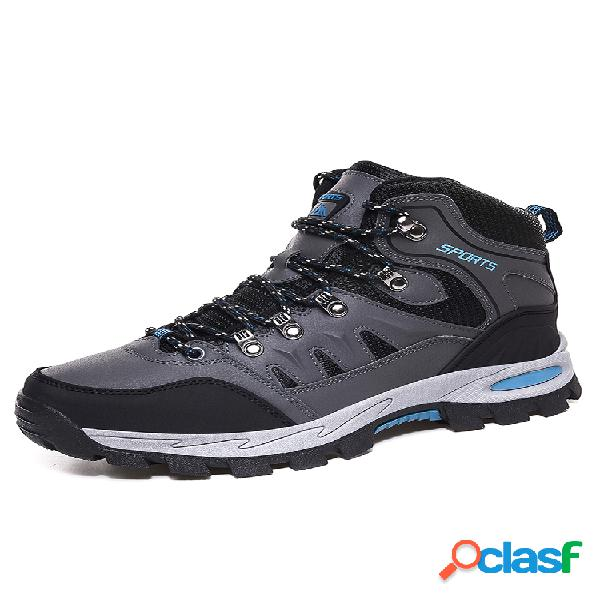 Hombres tela de malla deslizamiento transpirable antideslizante usable soft suela al aire libre zapatos de senderismo