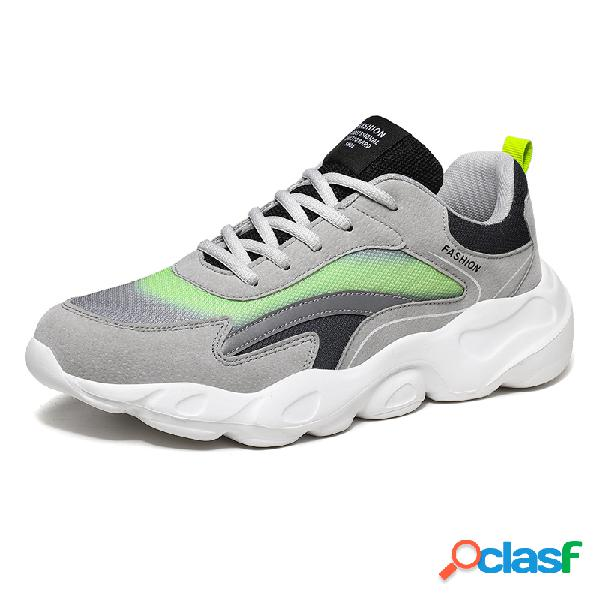 Hombres colorblock tela de malla transpirable soft sole sport running chunky sneakers