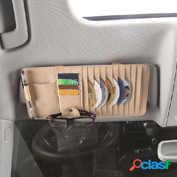 Cuero de pu multifunción coche clip para cd coched bolsa gafas de sol para teléfono pluma soporte