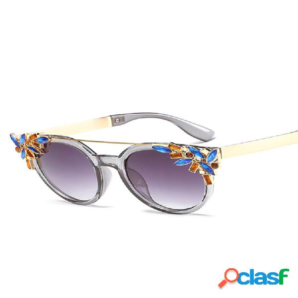 Mujer gato eye anti-uv gafas de sol vendimia brand designer crystal diamond frame gafas de sol