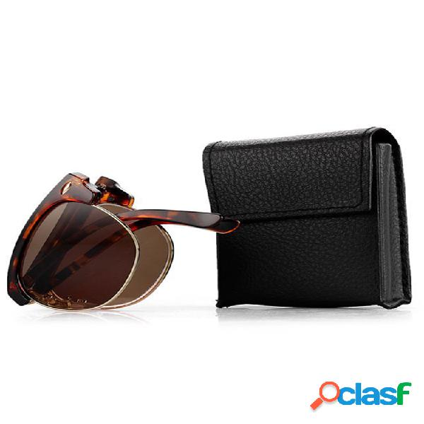 Mujer hombre vendimia gafas para presbicia gafas de sol con montura metálica plegables lectura gafas con gafas caso
