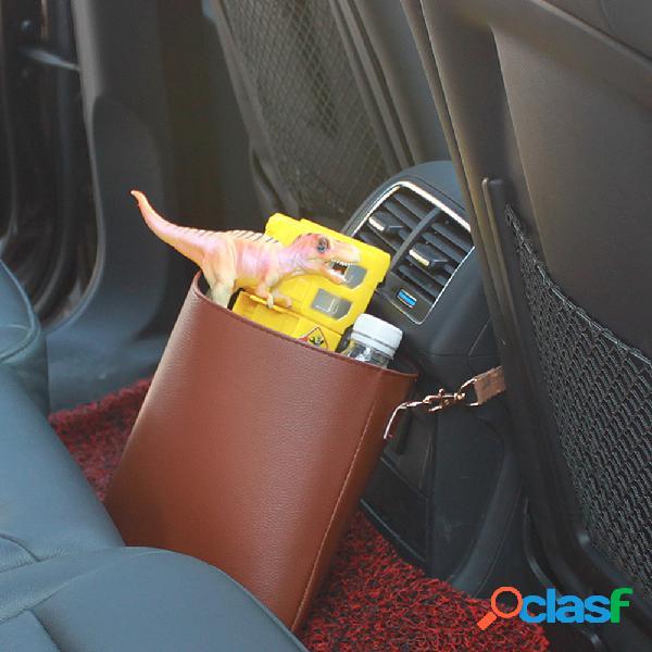 Cuero de pu coche almacenamiento en el respaldo del asiento bolsa basura cubo de basura cubo de almacenamiento multifuncional