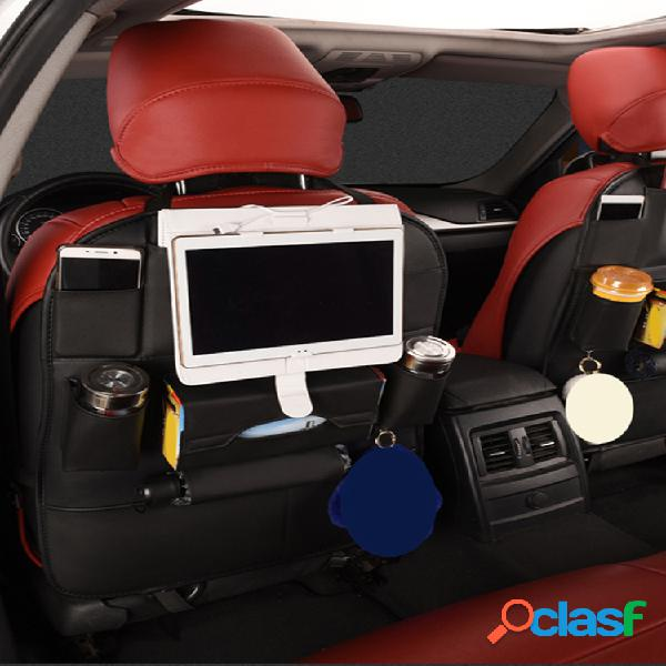 Cuero de pu multifuncional coche portavasos para teléfono con bolsillo de almacenamiento en el respaldo del asiento organizador