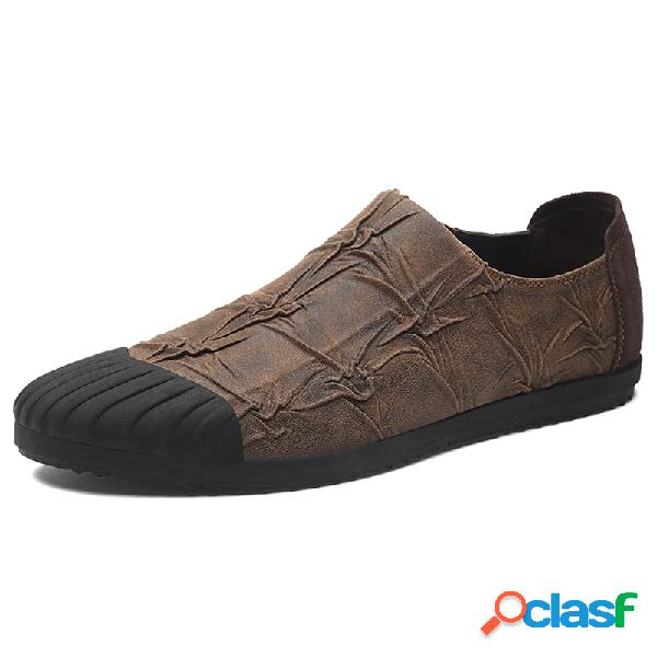Zapatos casuales antideslizantes de cuero de microfibra de hombre