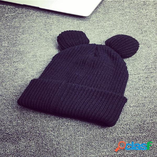 Gorro de lana para mujer gato orejas de invierno de lana de punto grueso cálido soft sombrero