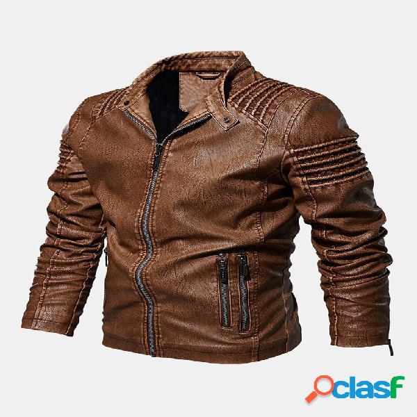 Hombre pu cuero cálido forro polar manga larga delgado fit moda abrigos chaquetas