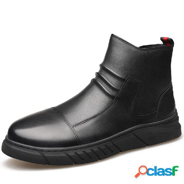 Hombres de microfibra de cuero antideslizante cremallera lateral tobillo casual botas
