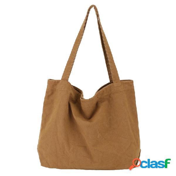 Mujer bolso de hombro liviano de gran capacidad de color sólido bolsa
