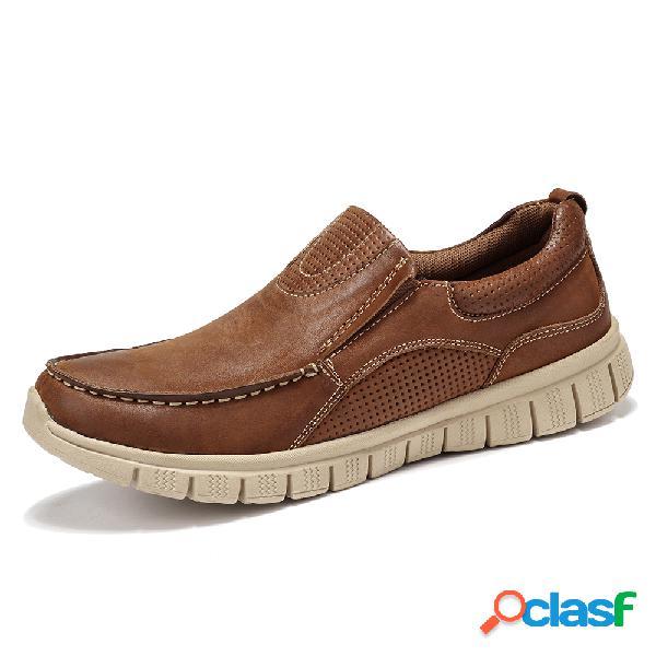 Menico hombres de cuero de microfibra retro soft slip único en zapatos casuales