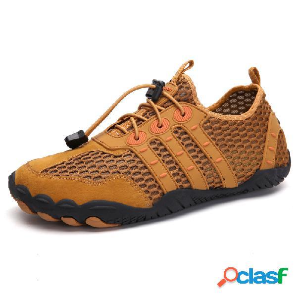 Hombres malla antideslizante secado rápido cordón elástico al aire libre zapatos casuales de agua