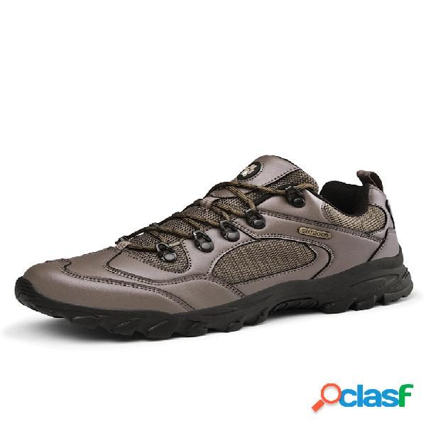 Los hombres empalme de tela de malla transpirable cómodo antideslizante al aire libre zapatos de senderismo