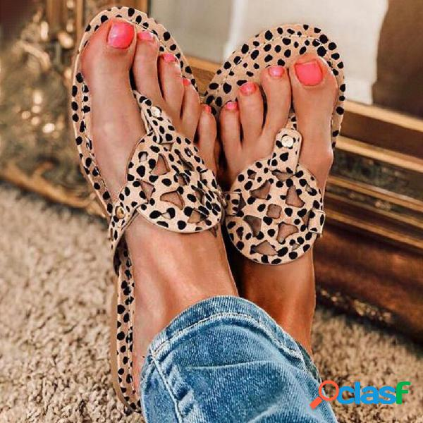 Plus talla mujer casual playa punta hueca clip con punta plana sandalias