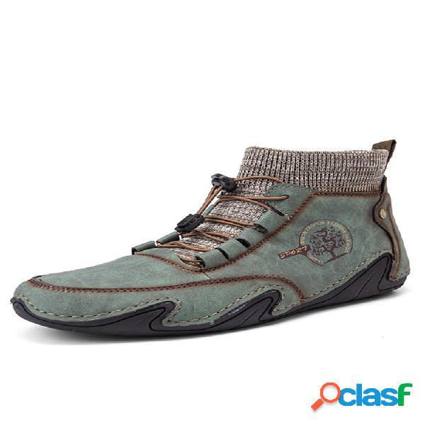 Cuero de microfibra cómodo cosido a mano soft calcetín tobillo botas
