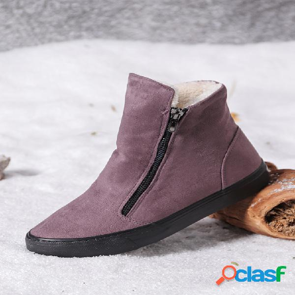 Mujer cremallera lateral de gamuza de color sólido casual cálido tobillo de nieve botas