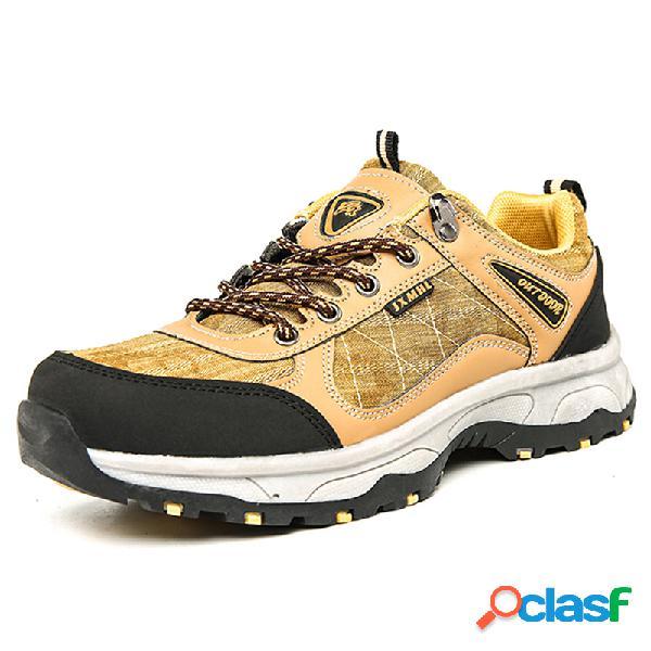 Hombres lona empalme transpirable al aire libre zapatos de senderismo antideslizantes