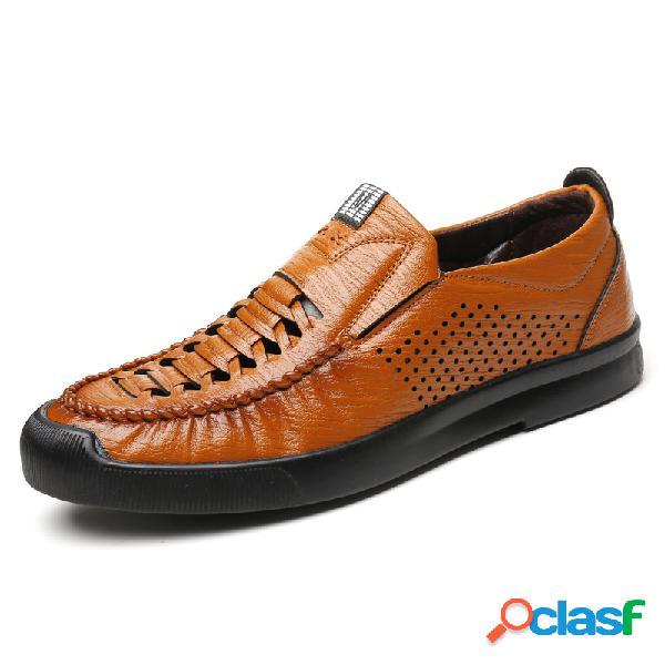 Hombres de microfibra de cuero tejido estilo agujero transpirable soft suela zapatos casuales