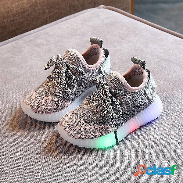 Unisex niños tela de malla transpirable soft suela led zapatillas de deporte casuales