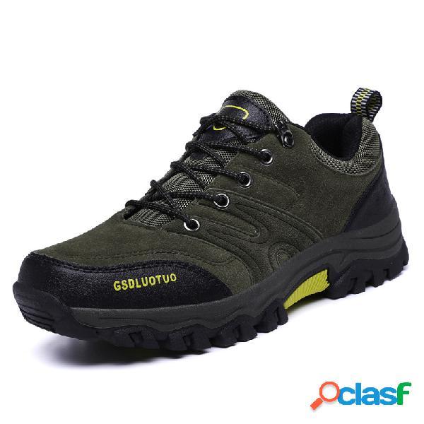 Hombres al aire libre zapatos de senderismo cómodos antideslizantes de gamuza
