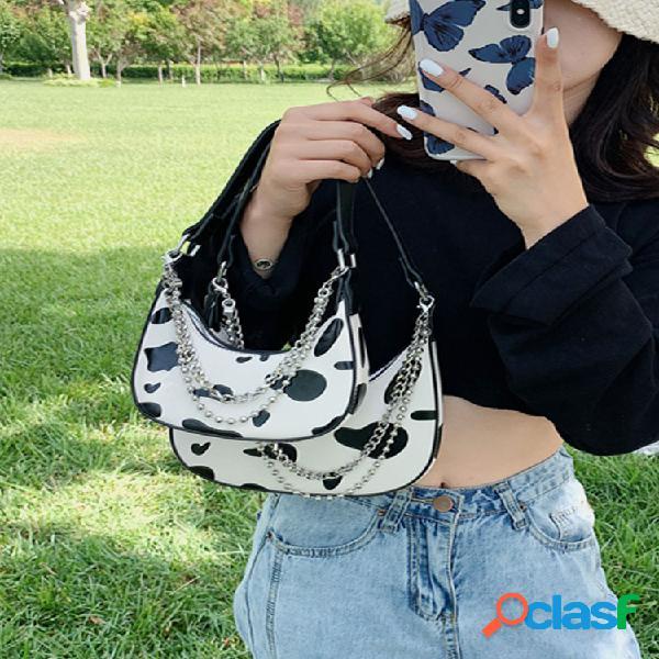 Mujer bolso pu cadenas leche hombro bolsa