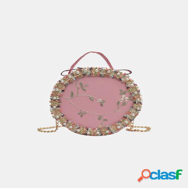Mujer cadenas florales redondas bolsa satchel bolsa hombro bolsa crossbody bolsa