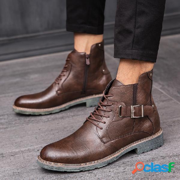 Hombres retro microfibra de cuero antideslizante hebilla metálica botas ocasionales