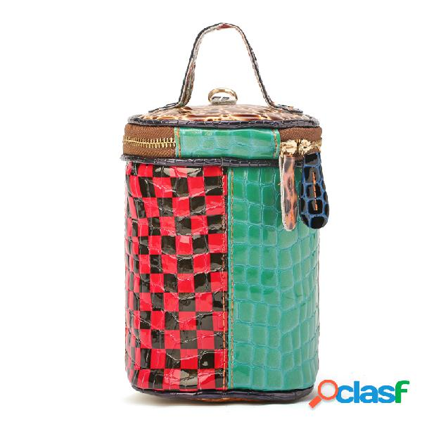 Mujer elegante cubo de retazos colorful bolsa crossbody bolsa