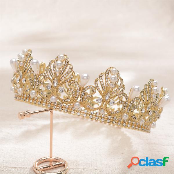 Mujer tiara redonda completa corona nupcial rhinestone headpiece cabello boda joyería
