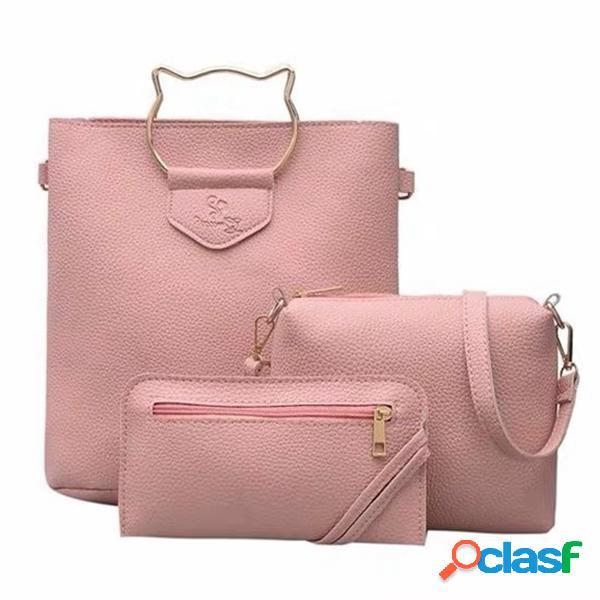 Mujer imitación de cuero gato mango lindo conjunto de tres piezas bolso hombro bolsa embrague bolsa portatarjetas