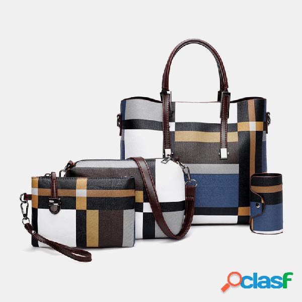 Mujer cuero pu 4pcs colorblock patchwork bolso crossbody bolsa monedero