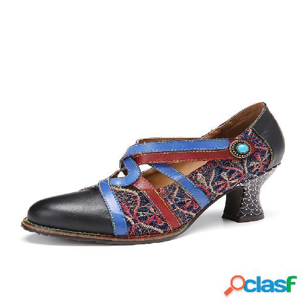 Socofy retro bordado empalme punta redonda cuero colorblock correa cruzada gancho zapatos de tacones de lazo