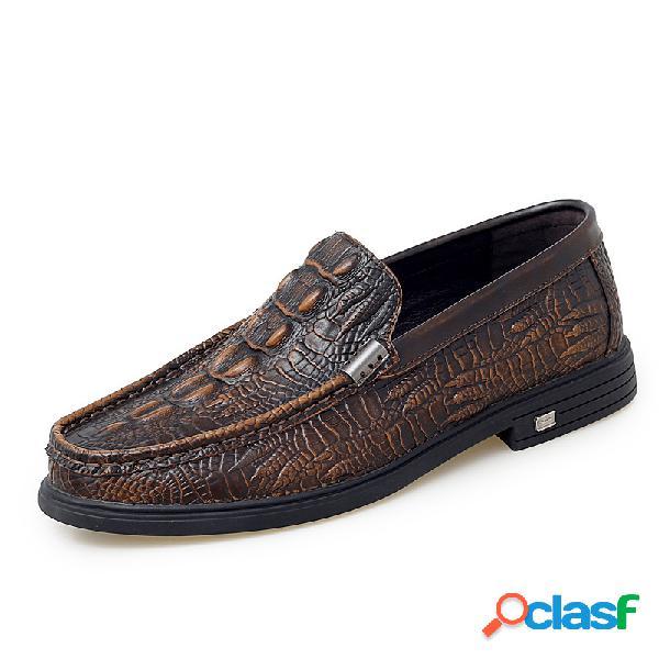 Hombres retro crocodile patrón slip antideslizante en zapatos de cuero casuales