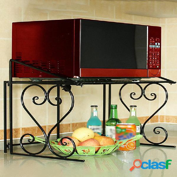cocina con rejilla para horno microondas de 2 niveles organizador estante de metal resistente para almacenamiento en gabinete de encimera