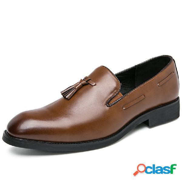 Hombres retro microfibra cuero antideslizante borla negocios vestido zapatos