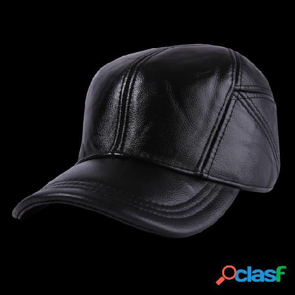 Cuero sombrero hombre nuevo cuero sombrero hombre cuero sombrero casual al aire libre gorra de béisbol ajustable