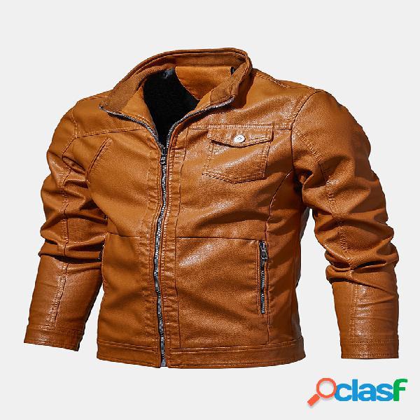 Chaquetas de moda de cuero para hombre otoño invierno manga larga pu cuero abrigos casuales