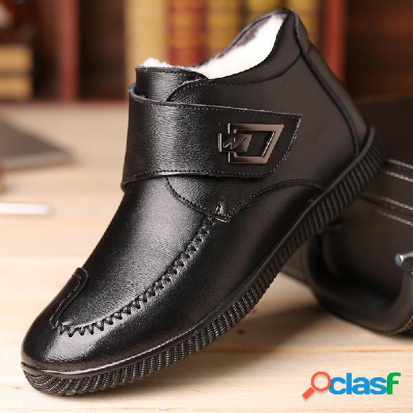 Hombres hebilla de metal forro cálido gancho cuero de bucle tobillo casual botas