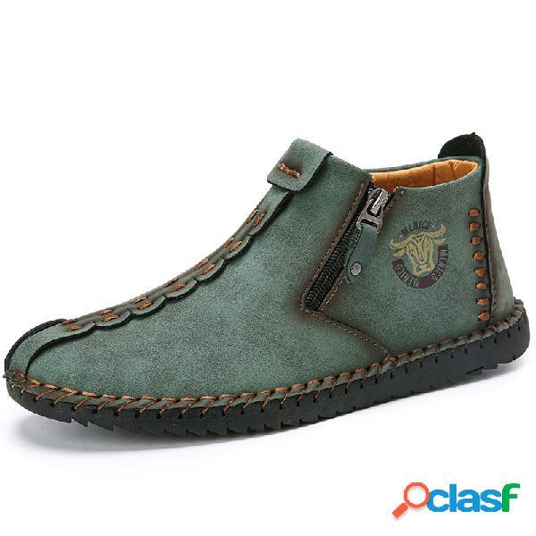 Menico cremallera lateral antideslizante de cuero cosido a mano para hombre soft suela casual botas