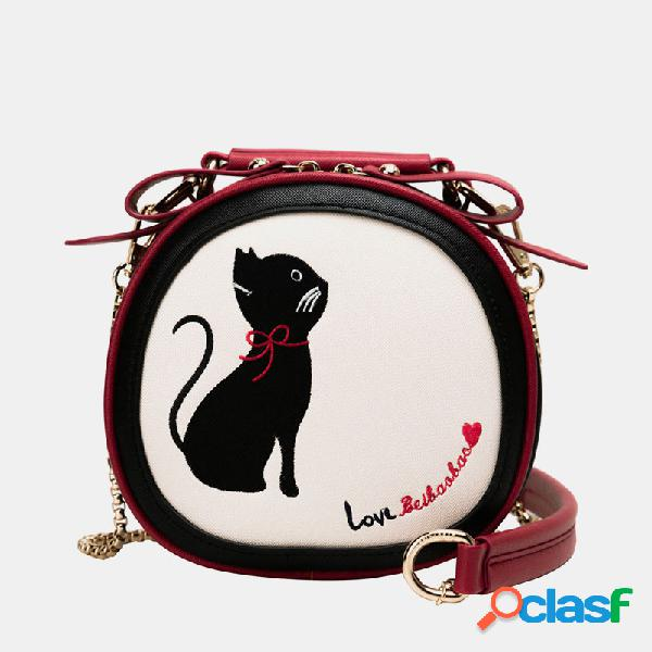 Mujer crossbody bolsa gato patrón bolso de mano