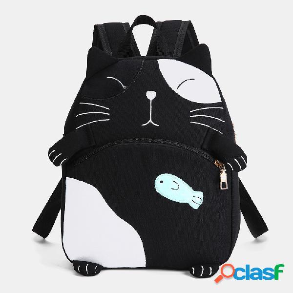 Mujer cute gato mochila casual de lona impresa escuela bolsa
