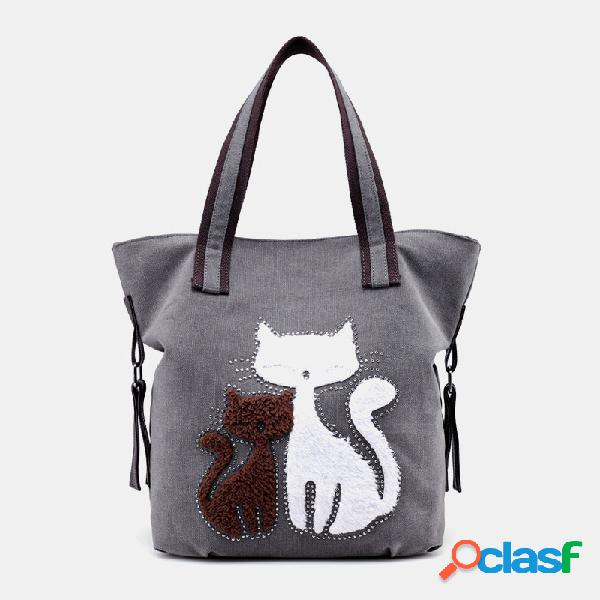 Mujer gato patrón bolso de lona hombro bolsa
